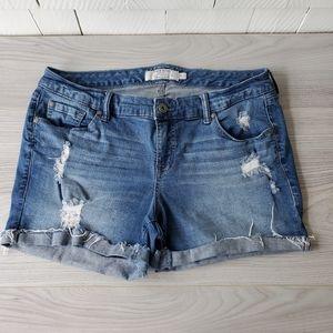 TORRID distressed denim shorts with stretch jean